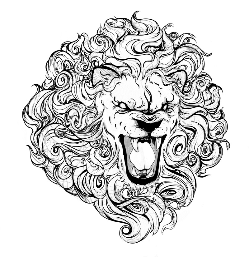 roaring_lion_tattoo_by_sejael-d3e0bp8